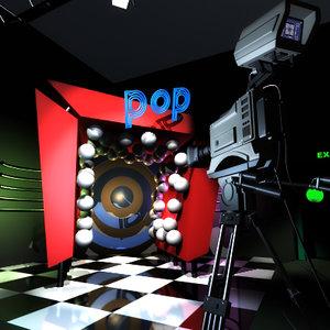 music tv studio 3d model