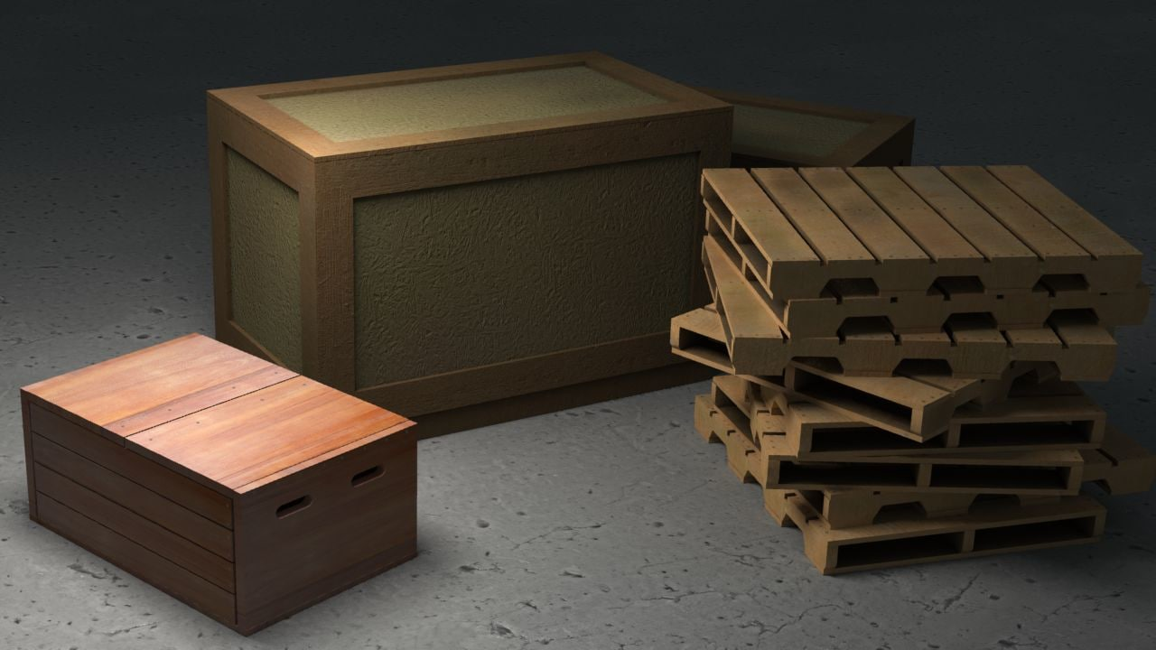 3d model shipping box crate pallets