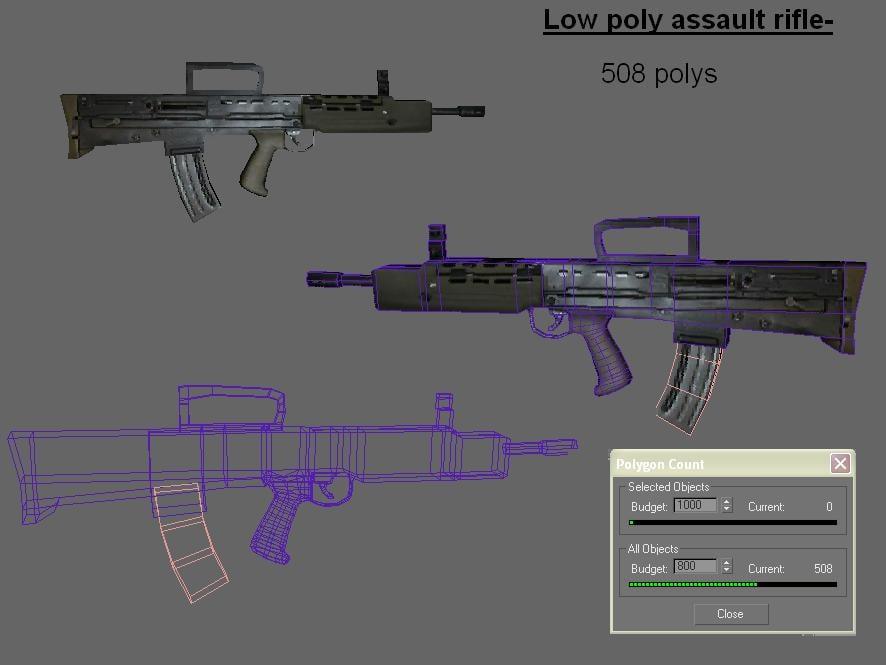 uzi pistol rifle 3d model