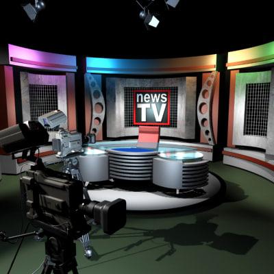 3ds max tv news studio cameras