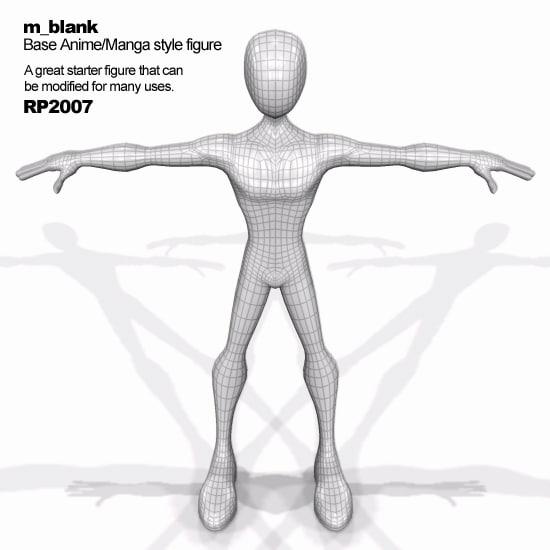 3d model of figure base manga