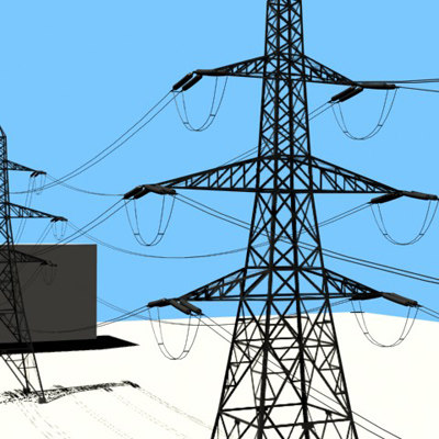 3d model polygons tower tension line