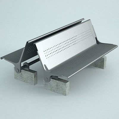 3d model bench street furniture