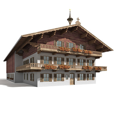 3d model of tyrol farmhouse