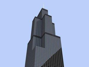 sears tower skyscrapers buildings 3d model
