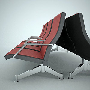 3d seating waiting airports model