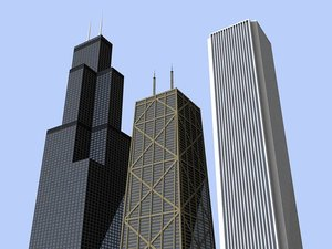 3 chicago skyscrapers 3d 3ds