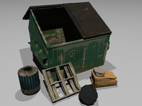 3d trash bin garbage model