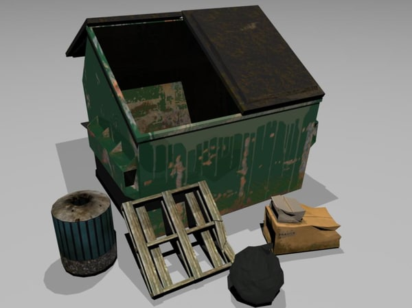 3d trash bin garbage model