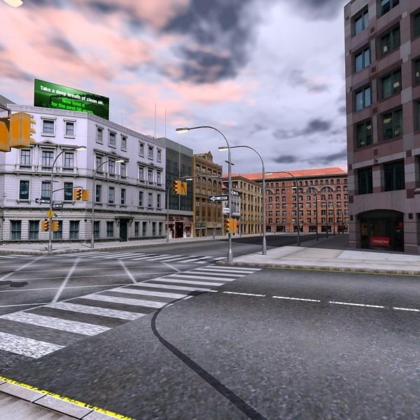 city scene road street obj