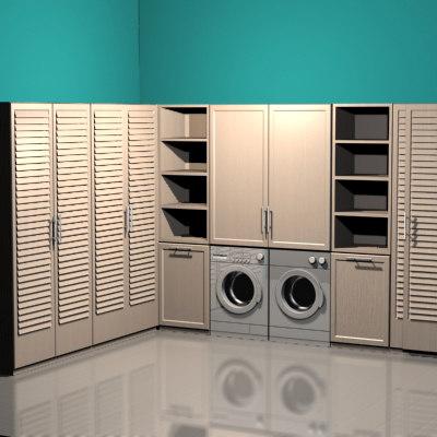 modern laundry room 3d model