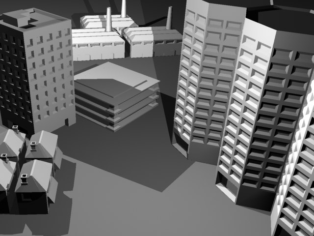 set urban buildings 3d model