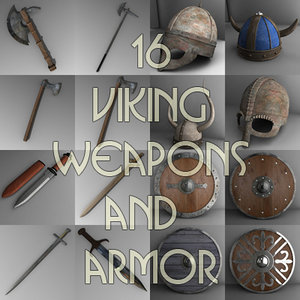 3d medieval weapon armor shields