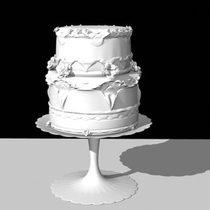 cake frosted layers flowers 3d obj