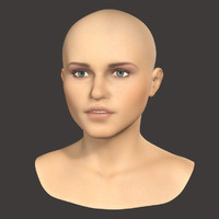 Female Head Textured 3d model