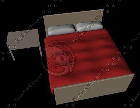 3d model basic bed table