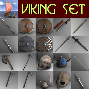 3d viking set spears shields model