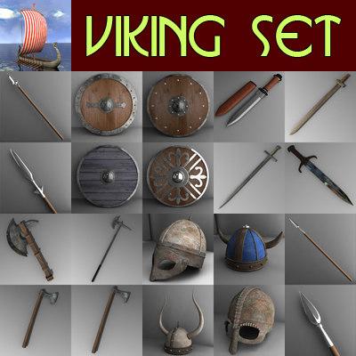 3d viking set spears shields model
