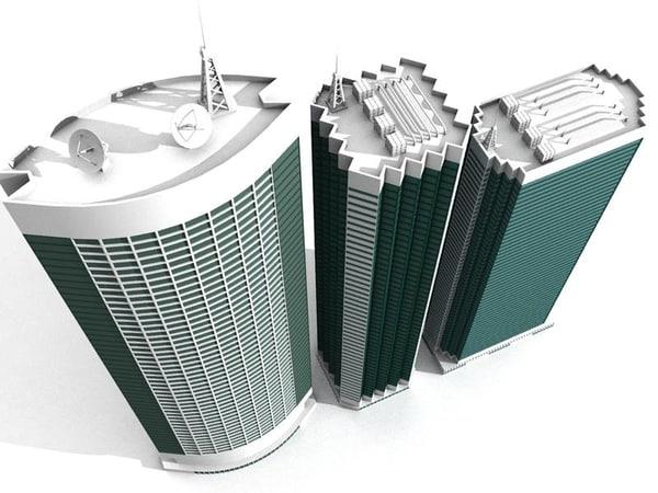 3ds max 3 hongkong style skyscrapers