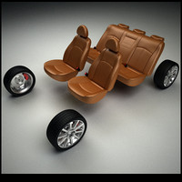 3d model car seats wheels