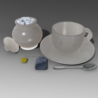 3d 3ds tea set