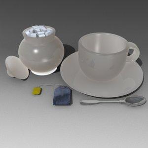 3d 3ds tea set