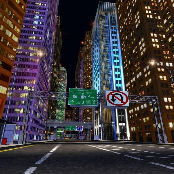 night city scene 3d max