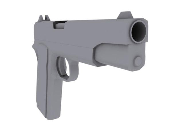 free 1911 colt 45 pistol 3d model