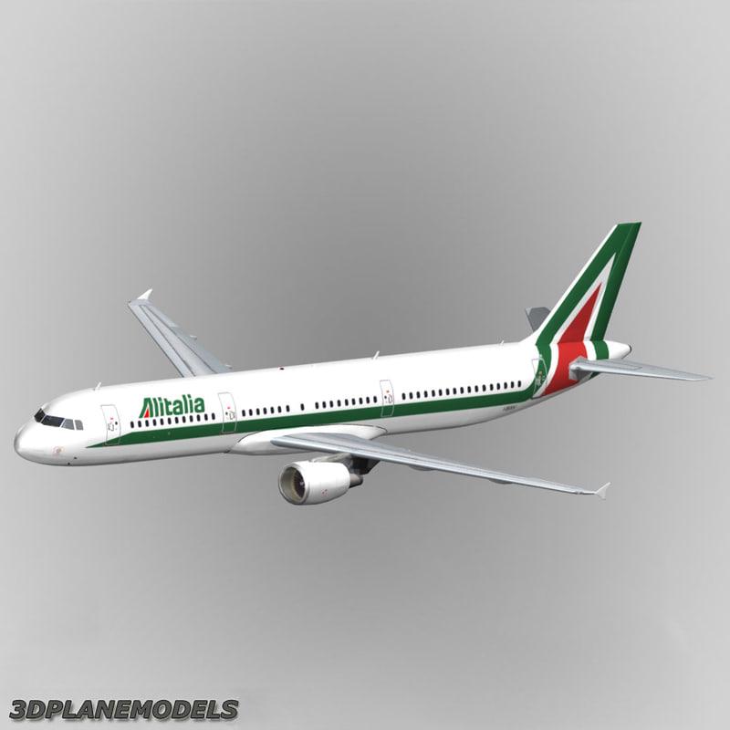 airbus a321 alitalia a-321 3d max