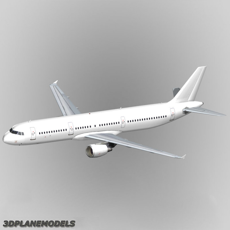 3d model airbus a321 generic white