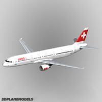 3d airbus a321 swiss international model