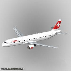 3d airbus a321 swiss international model