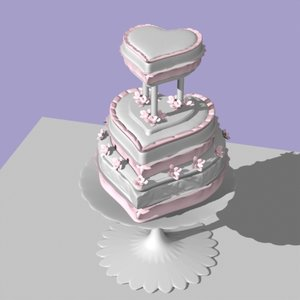 heart shaped wedding cake 3d model