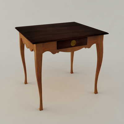 3d library table model