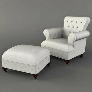 victorian tufted chair ottoman 3d max