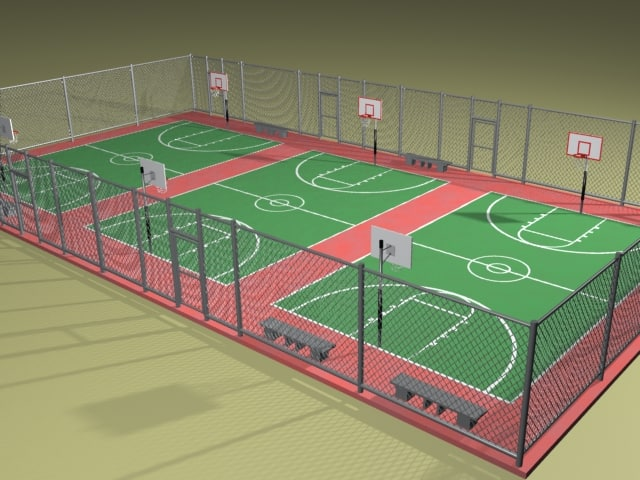 3d basketball courts zipped hoop model