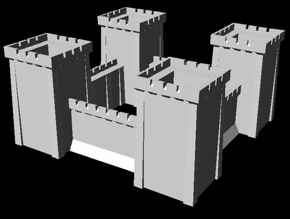 starter castle towers 3d model