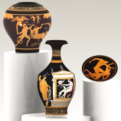 antique greek vases 3d max