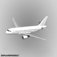 3d airbus a319 generic white