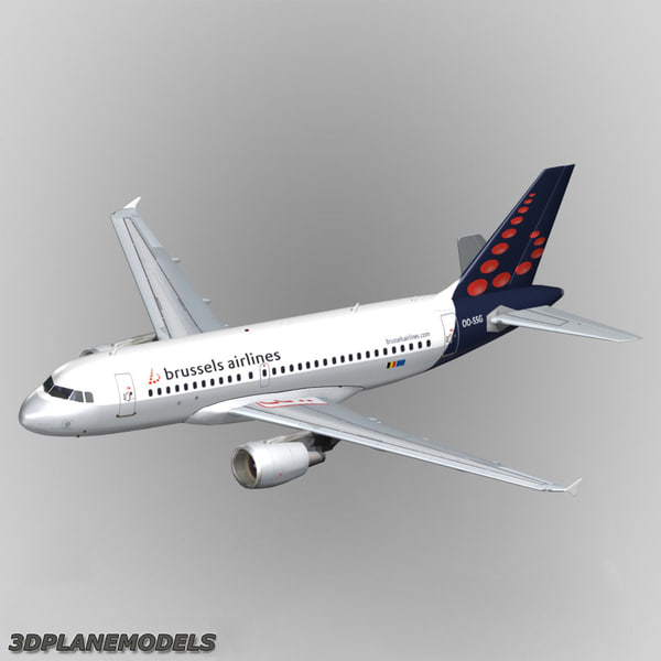 3d model airbus a319 brussels airlines