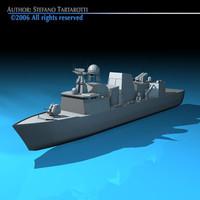 frigate war ship 3d model