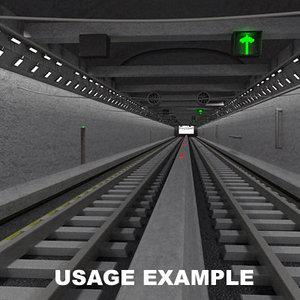 3d train tunnel model