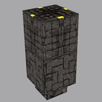 3d cryptic stone plinth model
