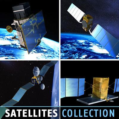 4 satellites 3d model
