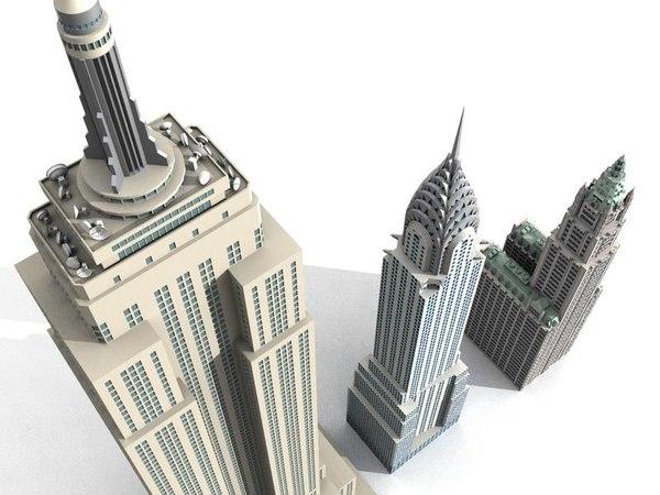 3dsmax 3 newyork skyscrapers building