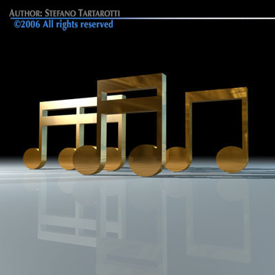 musical notes 3d dxf