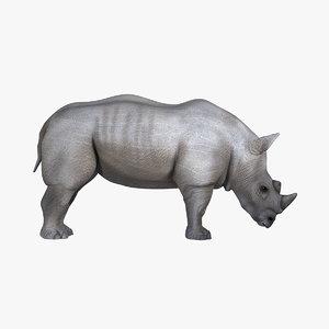 maya realistic white rhinoceros