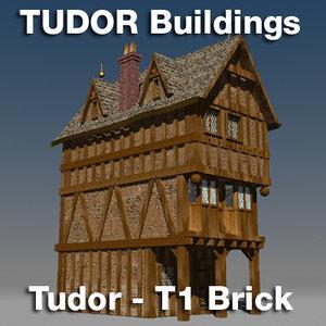 3d model t1-tudor style medieval building