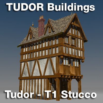 t1-tudor style medieval building 3d max