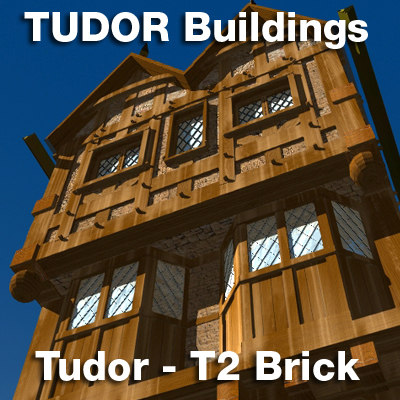 t2-tudor style medieval building 3d model